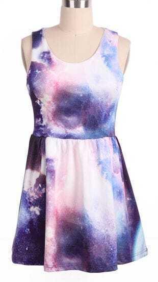 White Purple Round Neck Sleeveless Galaxy Dress