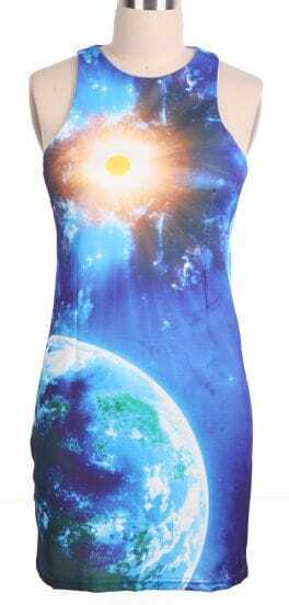 Blue Sleeveless Galaxy Sun Earth Bodycon Dress