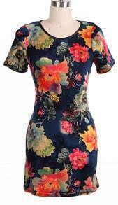 Navy Short Sleeve Shoulder Pads Floral Dress