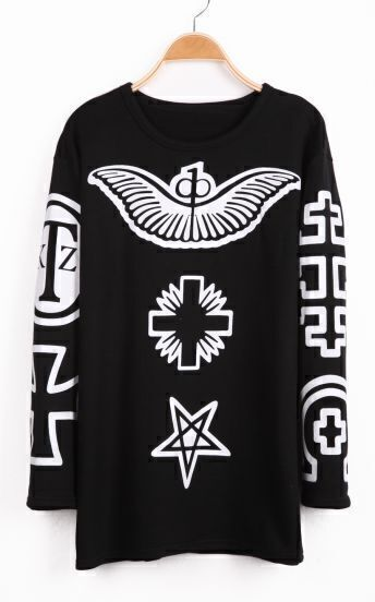 Black Sleeveless Wing Cross Pattern Sweatshirt