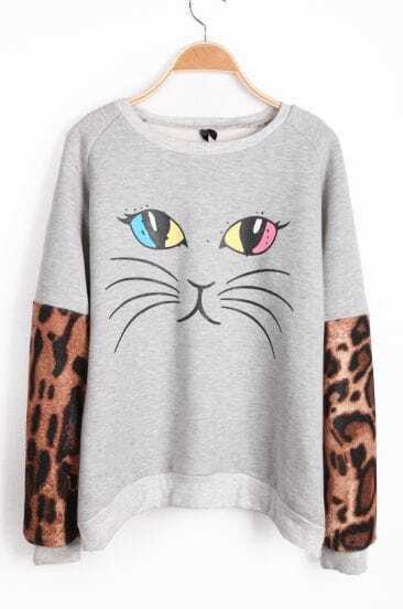 Grey Contrast Leopard Long Sleeve Cat Pattern Sweatshirt