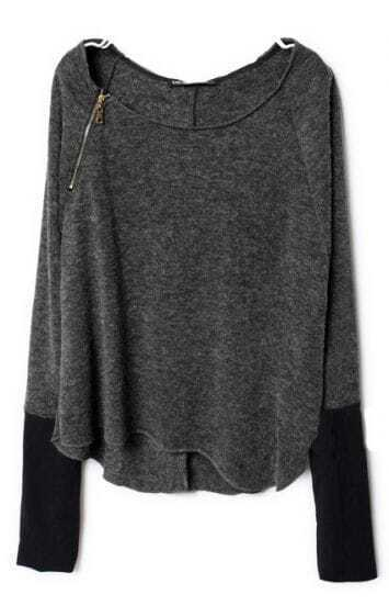 Dark Grey Zippered Curved Hem Jumper