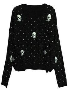 Black Long Sleeve Polka Dot Skull Print Sweater