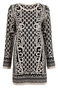 Black Beige Long Sleeve Totem Metallic-Blend Knit Dress
