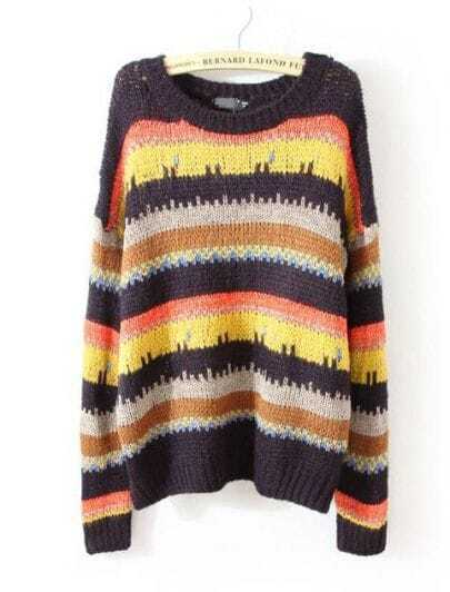 Multi Long Sleeve Striped Loose Pullovers Sweater