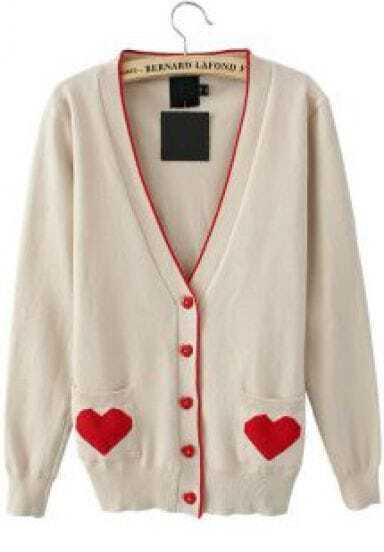 Beige Single Breasted Heart Print Pockets Sweater