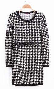 Black Long Sleeve Houndstooth Rivet Dress