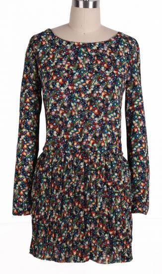 Navy Long Sleeve Floral Pleated Chiffon Dress