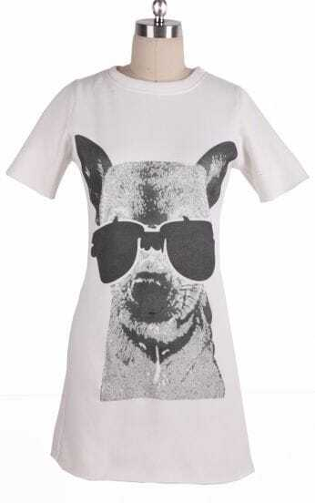 White Round Neck Short Sleeve Dog Print Dress