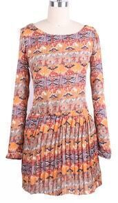 Orange Long Sleeve Floral Pleated Chiffon Dress