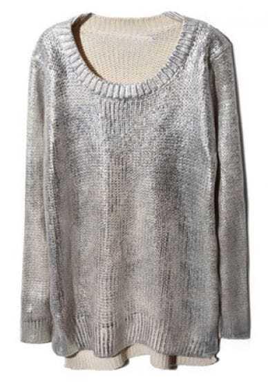 Silver Metallic Long Sleeve Split High-Low Sweater