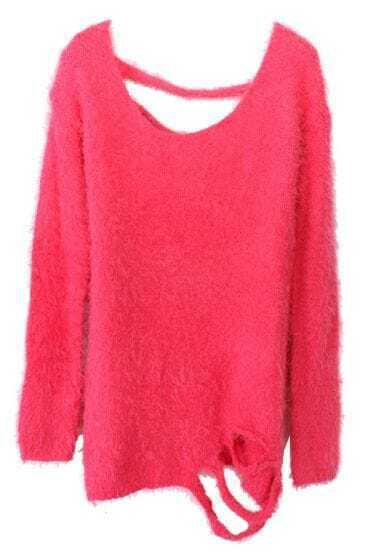 Rose Red Long Sleeve Backless Ripped Mohair Sweater