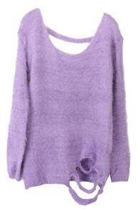 Purple Long Sleeve Backless Ripped Mohair Sweater