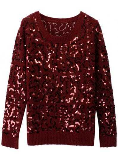 Wine Red Long Sleeve Sequined Mohair Sweater