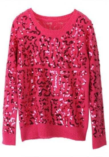 Rose Red Long Sleeve Sequined Mohair Sweater