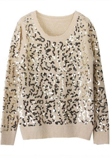 Champagne Long Sleeve Sequined Mohair Sweater