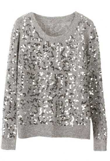 Grey Long Sleeve Sequined Mohair Sweater