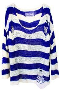 Blue White Striped Long Sleeve Ripped Sweater