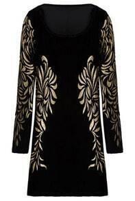 Black Metallic Yoke Embroidery Bodycon Dress