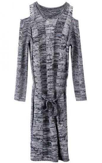 Grey Off the Shoulder Drawstring Sweater Dress