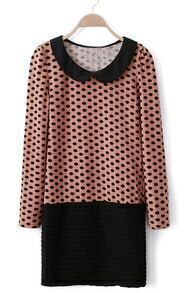 Pink Long Sleeve Polka Dot Pleated Dress