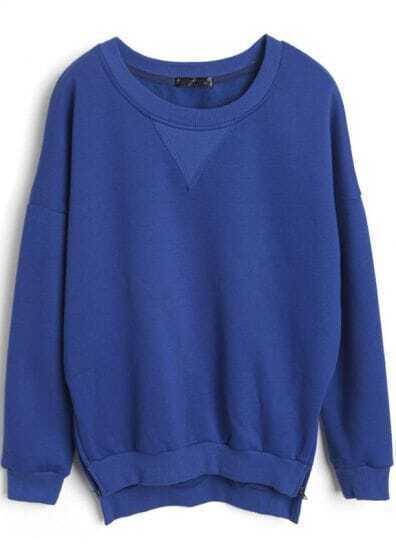 Blue Long Sleeve Side Zipper Split Sweatshirt
