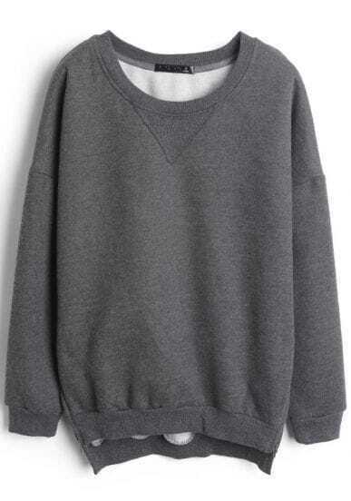 Grey Long Sleeve Side Zipper Split Sweatshirt