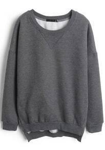 Grey Long Sleeve Side Zipper Split Sweatshirt