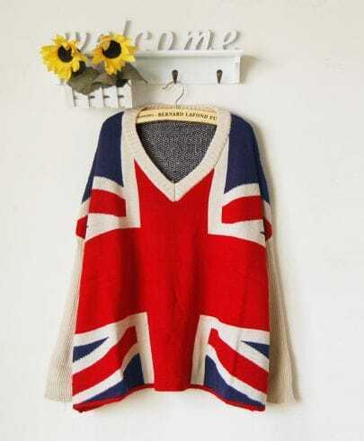 White and Navy V-neck Batwing Sleeve Union Jack Flag Pattern Sweater