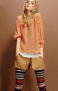 Orange Vintage Pattern Open Stitch Sweater