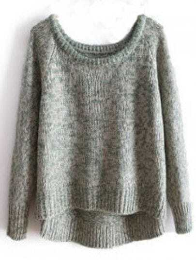 Grey Long Sleeve Asymmetrical Pullovers Sweater