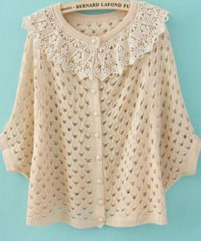 Beige Contrast Crochet Collar Batwing Open Mesh Stitch Sweater