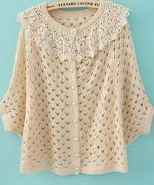 Beige Contrast Crochet Collar Batwing Open Mesh Stitch Sweater
