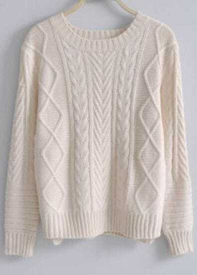 Beige Long Sleeve Asymmetrical Pullovers Sweater