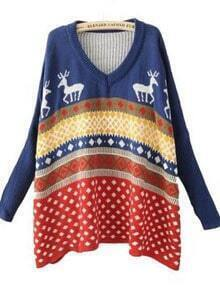Blue Batwing Long Sleeve Geometric Deer Print Pullovers Sweater