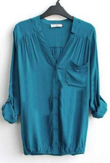 Blue V-neck Long Sleeve Pocket Elastic-Hem Blouse