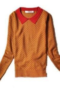 Brown Long Sleeve Contrast Red Collar Rhombus Print Jumper