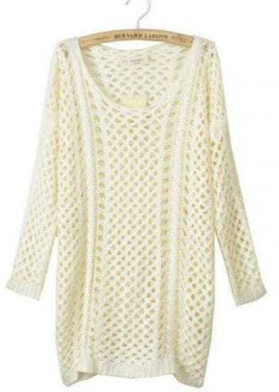 White Round Neck Long Sleeve Open Mesh Stitch Sweater