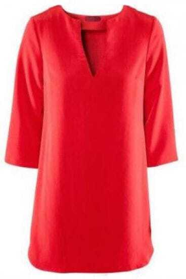 Red V-Neck Half Length Sleeve Shirt