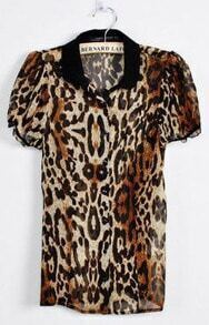 Leopard Print Chiffon Shirt