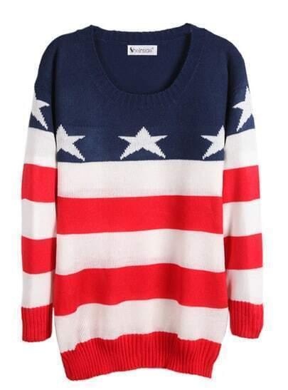 Langarm-Pullover mit Sterndruck und Streifen, rot