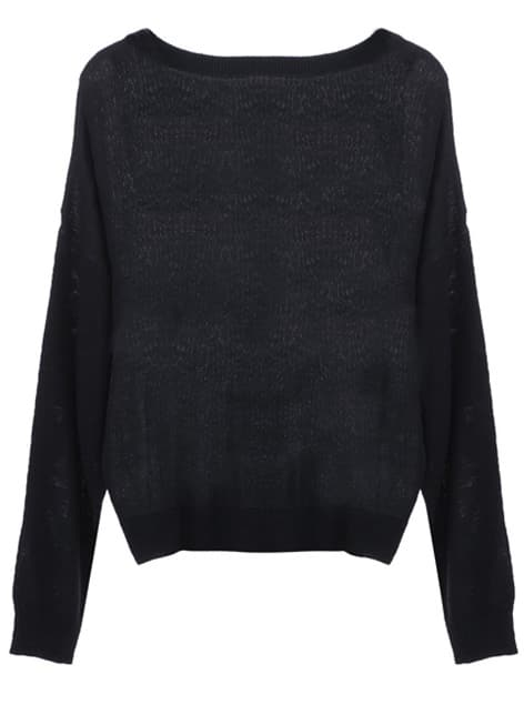 Black Embroidered Cat Round Neck Loose Sweater -SheIn(Sheinside)
