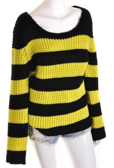 Black Yellow Striped Long Sleeve Loose Sweater -SheIn(Sheinside)
