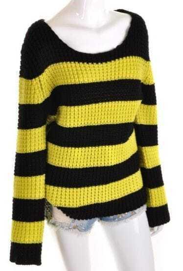 Black Yellow Striped Long Sleeve Loose Sweater