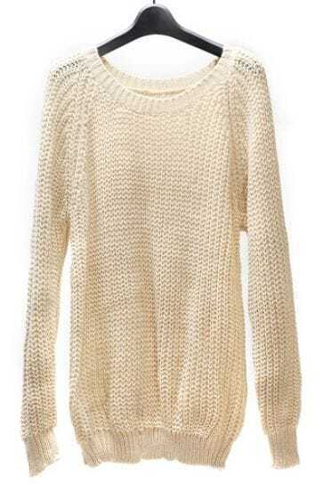 Light Yellow Long Sleeve Loose Knit Sweater