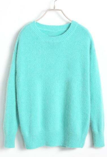 Light Blue Long Sleeve Pullover Knit Sweater -SheIn(Sheinside)