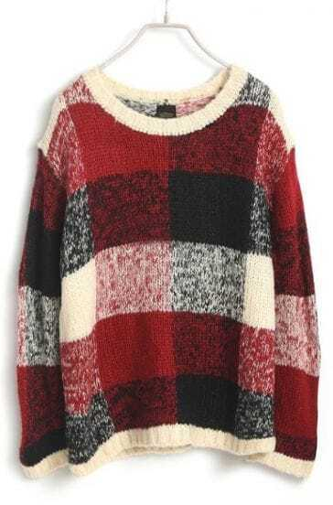 Red Long Sleeve Plaid Loose Knit Sweater