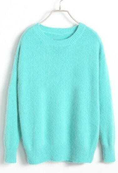 Light Blue Long Sleeve Pullover Knit Sweater