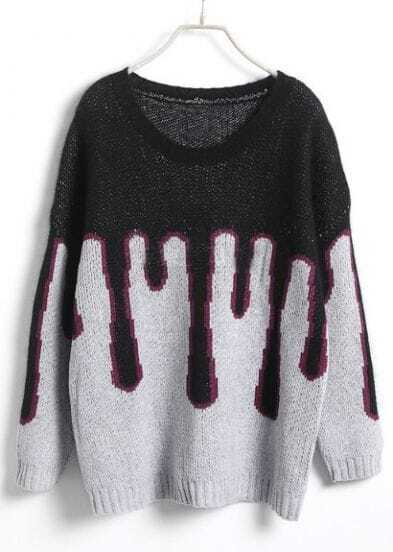 Black Batwing Long Sleeve Ice Cream Pattern Sweater