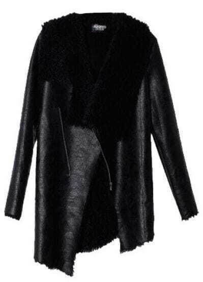Black Long Sleeve Fur Asymmetrical Leather Coat